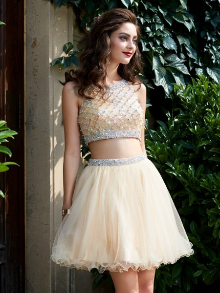 Corte en A/Princesa Escote en U Malla Corto/Mini Two Piece Homecoming Vestidos
